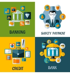 Set of banking and financial flat designs vector image vector image