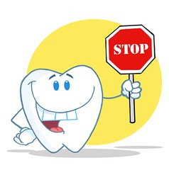 Tooth Character Holding A Stop Sign vector image