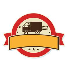 circular emblem with ribbon and van vector image