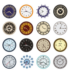 clock faces different design circle and arrows vector image