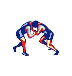 Freestyle Wrestling Retro vector image