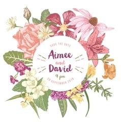 hand drawn botanical wedding invitation vector image vector image