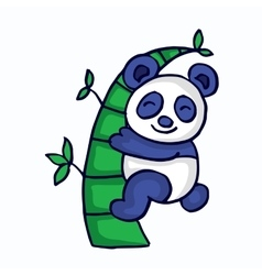 Panda with bamboo cartoon funny vector image vector image