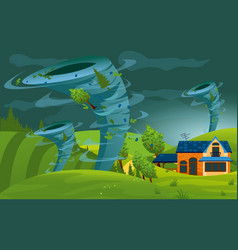 tornado storm hit the town vector image