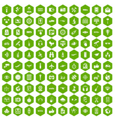 100 wireless technology icons hexagon green vector