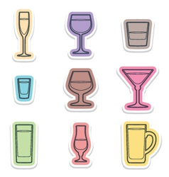 alcohol glasses labels icons vector image vector image