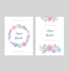 bundle of elegant wedding invitation templates vector image vector image