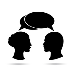 Conversation between man and woman black vector