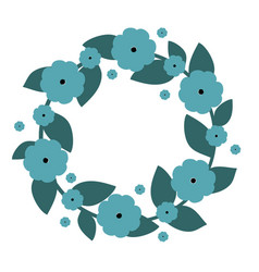 cute wreath with blue flowers wreath vector image