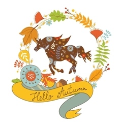Hello autumn card with floral unicorn horse and vector image