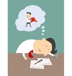 Tired businessman dreaming of being a super hero vector image