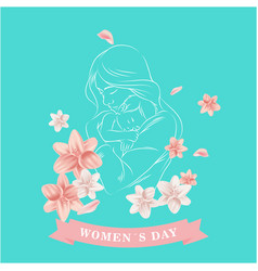 womens day ribbon mom son flower green background vector image