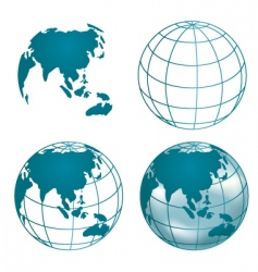chrome globe of asia vector image