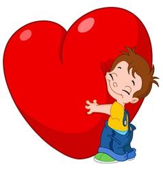 kid hug heart vector image vector image