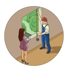 Man and woman measure window vector image vector image