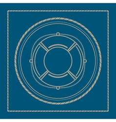 Marine emblem with lifebuoy vector image