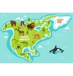 North american map with wildlife animals vector image vector image