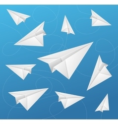 Paper Aircraft Fly on Blue Background vector image