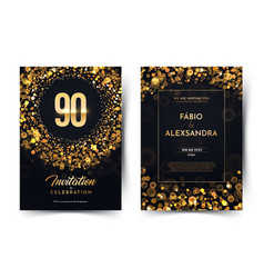 90th years birthday black paper luxury vector