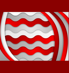 Abstract grey and red wavy corporate background vector