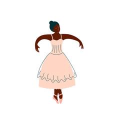 African american ballerina in white dress dancing vector
