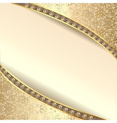 Background frame with flowers of silk with gold gl vector