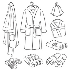 Bath cloth sketches vector