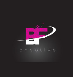 Bf b f creative letters design with white pink vector