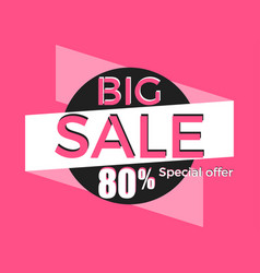 big sale special offer discount of 80 banner vector image