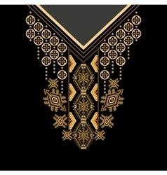 Black and golden colors ethnic flowers neck vector image