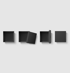 black top view box dark package square boxes with vector image