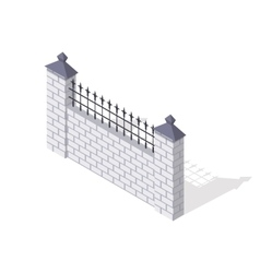 Brick Fence Section In Isometric Projection vector