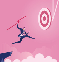 Businessman jumps throwing spear to target vector