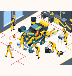 Car service workers mechanic repairing automobile vector