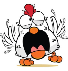 Cartoon Frantic White Chicken vector image