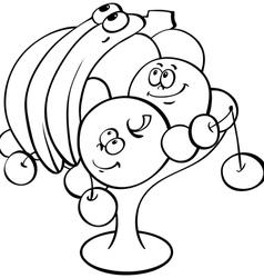 cartoon fruits in vase vector image