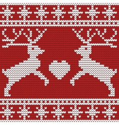 christmas seamless pattern with deers heart and vector image