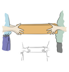Close-up hand two people holding long box with vector