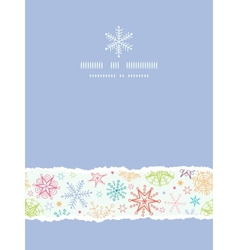 Colorful doodle snowflakes vertical torn frame vector