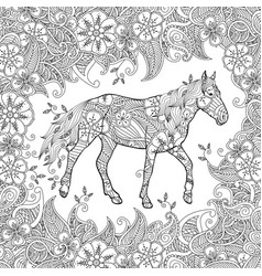 Coloring page in zentangle inspired style running vector