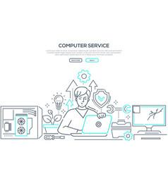 Computer service - modern line design style banner vector