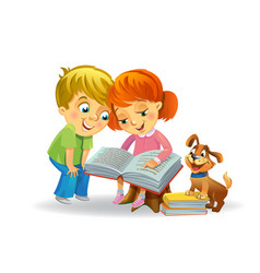 cute girl and boy reading book vector image