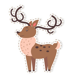 cute reindeer cartoon flat sticker or icon vector image