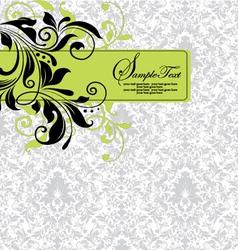 Damask invitation floral card vector