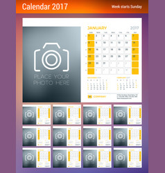 desk calendar planner template for 2017 year week vector image
