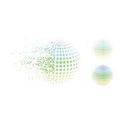 Disintegrating pixel halftone dotted sphere vector