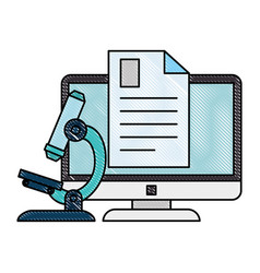 Document with computer and microscope vector