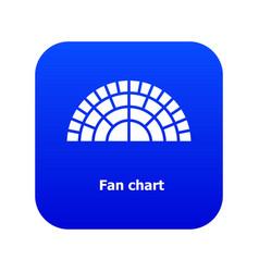 Fan chart icon blue vector