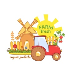 Farm Fresh with rural landscape vector image