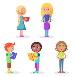 five schoolchildren stands and holds schoolbooks vector image